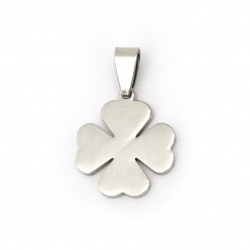Pendant steel stainless extra quality, shiny clover 30x19x2 mm color silver
