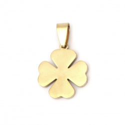 Pendant steel stainless extra quality, glossy clover 30x19x2 mm color gold