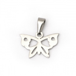 Pendant butterfly, steel stainless extra quality 22x22x1.5 mm color silver