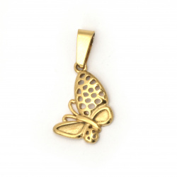 Pendant butterfly steel stainless extra quality for DIY earrings,  necklace making 28x15x3 mm color gold