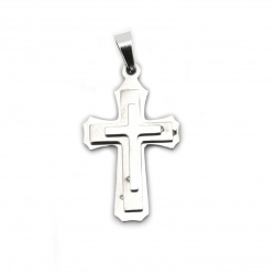 Pendant steel stainless extra quality cross 33x16x4 mm color silver