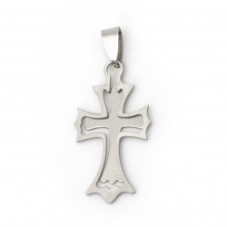 Pendant cross steel stainless extra quality  44x19x1 mm color silver