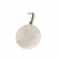 Pendant steel stainless extra quality round tile 32x21.5x1 mm color silver