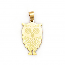Pendant owl steel stainless extra quality 41x19x1 mm color gold