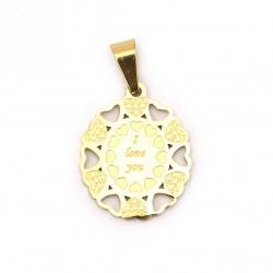 Висулка стомана неръждаема 304 с надпис I love you 27x21x1.5 мм дупка 9x5 мм цвят злато