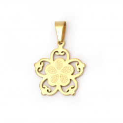 Stainless steel pendant 304 flower 26.5x24.5x2 mm hole 9x5 mm color gold