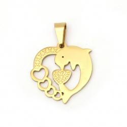 Висулка стомана неръждаема 304 сърце с делфин 27x26x1.2 мм дупка 9x5 мм цвят злато