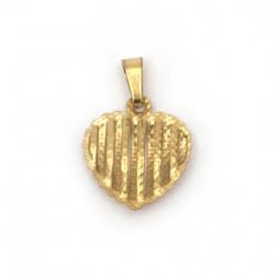 Висулка стомана неръждаема 304 сърце 17x15x3.5 мм дупка 6x3 мм цвят злато