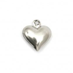 Висулка стомана неръждаема 304 отваряема сърце 13x11.5x4.5 мм дупка 1.2 мм цвят сребро -2 броя