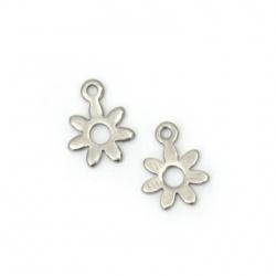 Висулка стомана цвете 11x8x0.8 мм дупка 2 мм цвят сребро -20 броя