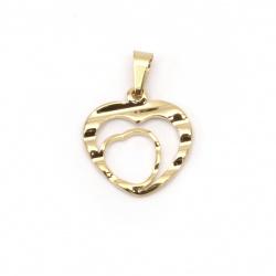 Висулка стомана сърце 17x16x1.5 мм дупка 5x3 мм цвят злато