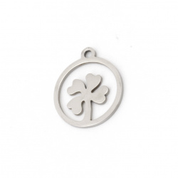 Round pendant with clover steel 17x14.5x1 mm hole 1.5 mm color silver - 2 pieces