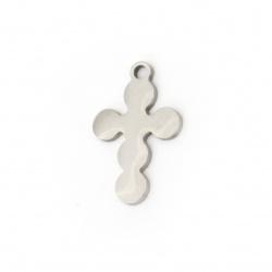Висулка стомана кръст 18x12x1 мм дупка 1.5 мм цвят сребро -2 броя