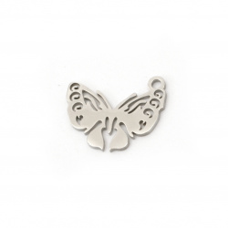 Pendant steel butterfly 16x12x1 mm hole 1.5 mm color silver -2 pieces