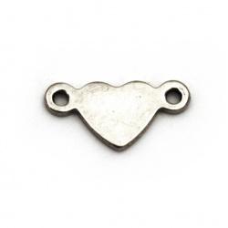 Element de conectare inima din oțel 5x11x1 mm gaură 1 mm culoare argintiu -5 bucăți
