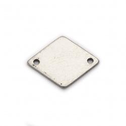 Свързващ елемент стомана плочка 14x11x1 мм дупка 1 мм цвят сребро -4 броя