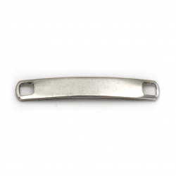 Jewelry findings, steel connecting element - tile 33.5x5x1 mm hole 3 mm color silver - 2 pieces