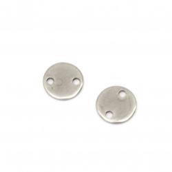 Свързващ елемент стомана кръг 8x0.8 мм дупка 1 мм цвят сребро -10 броя