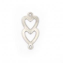Свързващ елемент стомана сърце 18x8x0.5 мм дупка 1 мм цвят сребро -10 броя