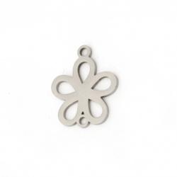 Свързващ елемент стомана цвете 18x14x1 мм дупка 1.5 мм цвят сребро -2 броя