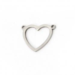 Свързващ елемент стомана сърце 18x14x1 мм дупка 1 мм цвят сребро -2 броя