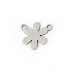 Свързващ елемент стомана цвете 18x16x1 мм дупка 2 мм цвят сребро -2 броя
