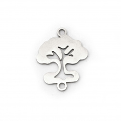 Свързващ елемент стомана дърво 19x15x1 мм дупка 2 мм цвят сребро -2 броя