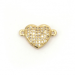 Jewelry component, heart connecting element, forged brass with micro cubic zirconium 10x16x4 mm hole 1 mm color gold