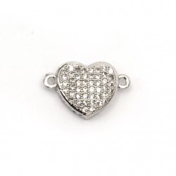 Sheeny connecting elements heart, forged brass beads with micro cubic zirconium 10x16x4 mm hole 1 mm color silver