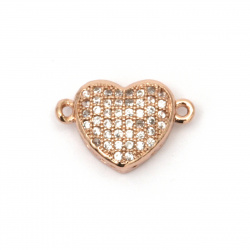 Свързващ елемент месинг с ковани микро кубични цирконии сърце 10x16x4 мм дупка 1 мм цвят розово злато