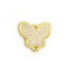 Свързващ елемент месинг галванизиран пласт резин пеперуда 14x16x3.5~4 мм дупка 1 мм цвят злато с бяла дъга