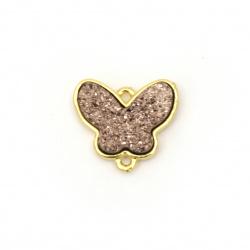 Свързващ елемент месинг галванизиран пласт резин пеперуда 14x16x3.5~4 мм дупка 1 мм цвят злато с розово