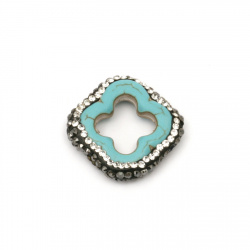 Мънисто тюркоаз синтетичен камък с полимер и кристали фигура 23x4 мм  дупка 1 мм