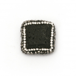 Мънисто  ВУЛКАНИЧЕН-ЛАВА  камък с полимер и кристали фигура 24x6 мм дупка 1 мм