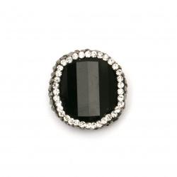 Мънисто  ВУЛКАНИЧЕН-ЛАВА  камък с полимер и кристали фигура 22x7 мм дупка 1 мм
