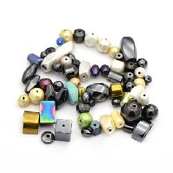 Gemstone, Synthetic Hematite, Magnetic/Non-magnetic, 4~28x4~20x2~10mm, hole 0.5~2mm, Mixed Shapes, 20 grams