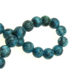 Наниз мъниста полускъпоценен камък VAINS STONE син топче 10 мм ±38 броя