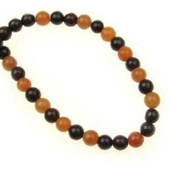 Perle  coarde din piatră semiprețioasă JASPILIT și MOKAIT bilă 4mm ~ 96 bucăți