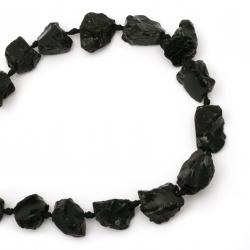 String beads semi-precious stone AHAT BLACK 19 ~ 32x16 ~ 28x6 ~ 18 mm ~ 15 pieces