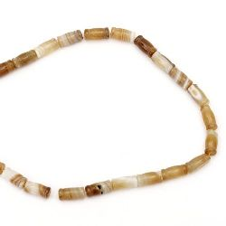 String of cylindrical beads  stone Agate  brown light 8x16 mm ~ 25 pieces