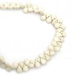 Наниз мъниста полускъпоценен камък ТЮРКОАЗ синтетичен бял капка 14x10x5.5~6 мм ~84 броя