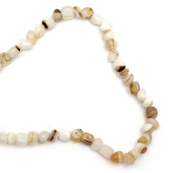String  beads striped  stone Agate  white milk 6 ~ 12x6 ~ 15 mm ~ 50 pieces