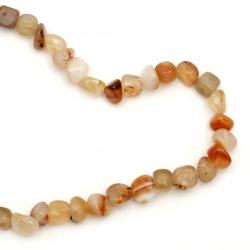 String  beads striped  stone Agate orange milky 6 ~ 12x6 ~ 15 mm ~ 44 pieces