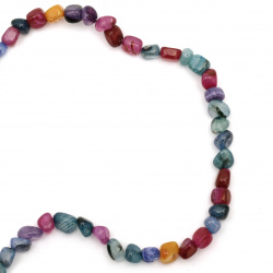 String  beads striped  stone Agate assorted colors 7 ~ 13x8 ~ 15 mm ~ 44 pieces