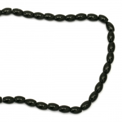 String  beads   stone Agateblack oval 6x10 mm ~ 42 pieces
