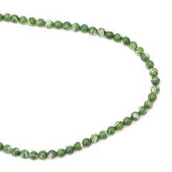 Наниз мъниста полускъпоценен камък СЕДЕФ оцветен зелен 6 мм ~63 броя
