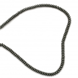 String beads non-magnetic synthetic stone HEMATITE matte abacus 4x2 mm ~ 184 pieces