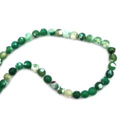 Șir de mărgele din piatră semiprețioasă AGAT crapate verde bila 8 mm ~ 48 bucăți