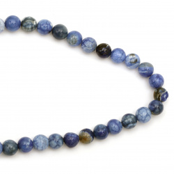 String beads  cracked  stone Agate blue ball 10 mm ~ 38 pieces