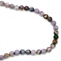 Șir de mărgele din piatră semiprețioasă AGAT  crapata violet  bila  10 mm ~ 38 bucăți